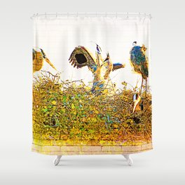 Nest Building At The Rookery Shower Curtain