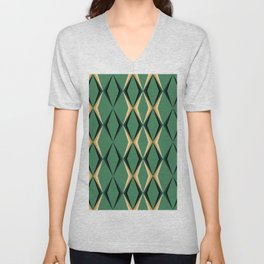 Art Deco Green & Gold Unisex V-Neck