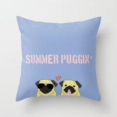 Summer Puggin Throw Pillow
