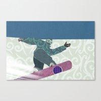 snowboarding Canvas Prints featuring Snowboarding by Aquamarine Studio