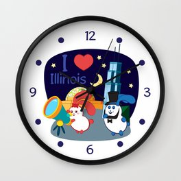 Ernest and Coraline | I love Illinois Wall Clock