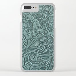 Sagey Teal Tooled Leather Clear iPhone Case