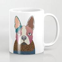 boston terrier Mugs featuring Boston Terrier  by Lanre Studio