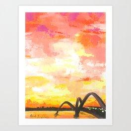 JK Bridge with Red Sky Art Print