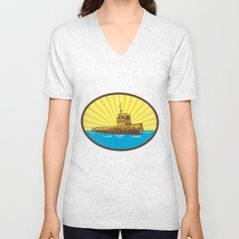 River Tugboat Oval Woodcut Unisex V-Neck