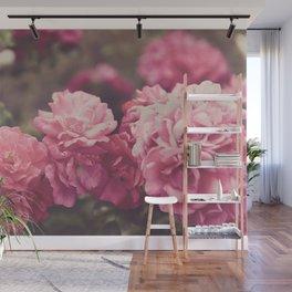 Vintage Romantic Pink Flowers Wall Mural