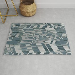 Silver Geometric Brush Rug