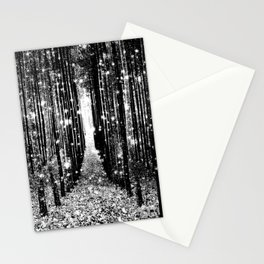 Magical Forest Black White Gray Stationery Cards