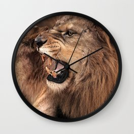 Amazing Impressive African Lion Family Roaring Close Up Ultra HD Wall Clock