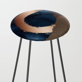 Navy Blue, Gold And Copper Abstract Art Counter Stool