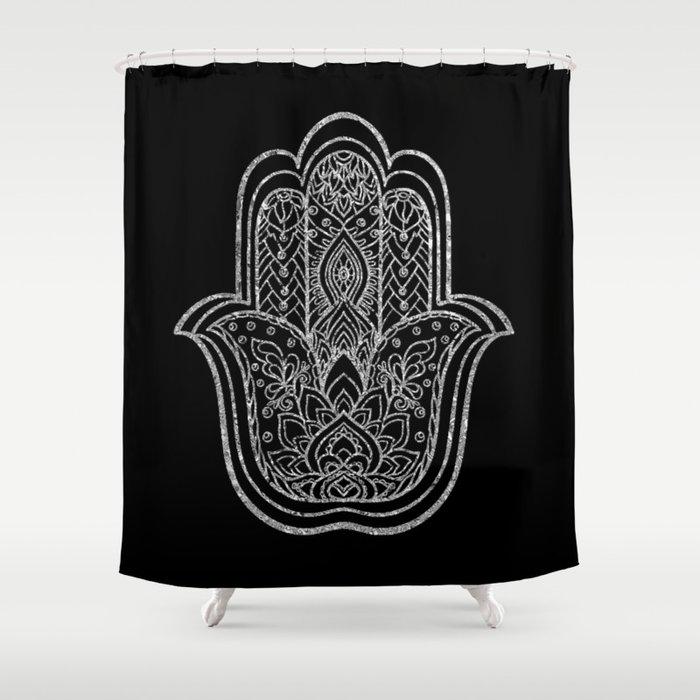 Silver Lotus Hamsa Hand Shower Curtain