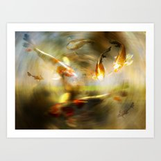 Golden Koi Art Print