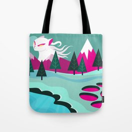 Monster Cat in the Mountains Tote Bag