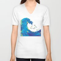 hokusai V-neck T-shirts featuring Hokusai Rainbow & dolphin_G by FACTORIE