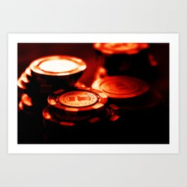 Casino Chips Stacks-Red Art Print