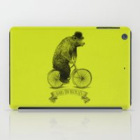bicycles iPad Cases featuring Bears on Bicycles (Lime) by Eric Fan