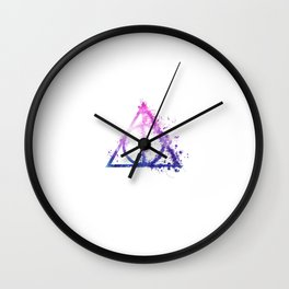 Deathly Hallows galaxy paint drops - Potterhead - elder wand, invisibility cloak, resurrection stone Wall Clock