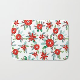 Poinsettia florals christmas festive holiday tradition thanksgiving red and white floral bouquet Bath Mat
