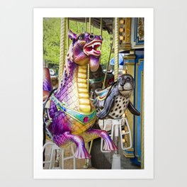 Carousel Dragon and Seal on a Merry-go-round Art Print