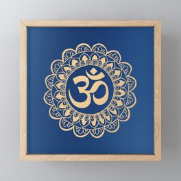 Blue and Gold Ohm Mandala Framed Mini Art Print