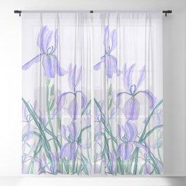 purple iris watercolor Sheer Curtain