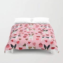 Rat Terrier valentines day cupcakes love hearts dog breed pet art dog pattern gifts unique pure bree Duvet Cover