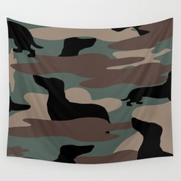 Camo Weiner Dogg Wall Tapestry