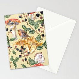 Hedgehogs & Blackberries, pale yellow Stationery Cards