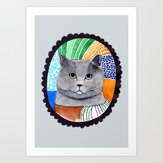 KITTY / GREY Art Print