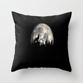 Wild Solitary Wolf Throw Pillow