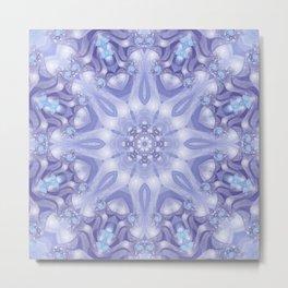 Light Blue, Lavender & White Floral Mandala Metal Print