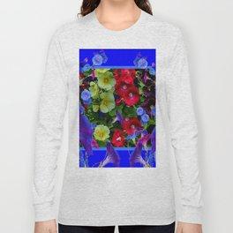 HOLLYHOCKS & MORNING GLORIES COTTAGE BLUE ART Long Sleeve T-shirt