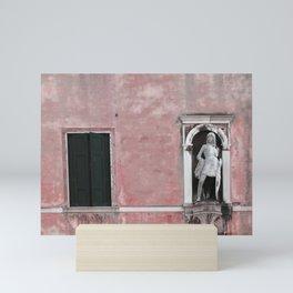 Pink and Black Venetian Building Mini Art Print