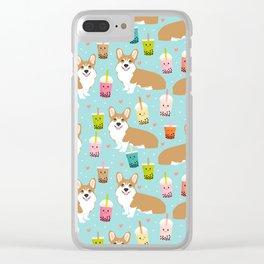 corgi boba tea bubble tea cute kawaii dog breed fabric welsh corgis dog gifts Clear iPhone Case