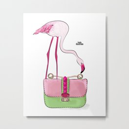 Flamingo bag Metal Print