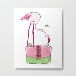 Flamingo bag Metal Print