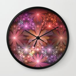 Bed Of Flowers Abstract, Fractal Art Wall Clock