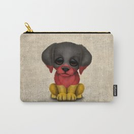 Cute Puppy Dog with flag of Germany Carry-All Pouch