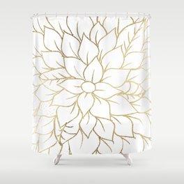 Gold faux foil chic floral elegant pattern Shower Curtain
