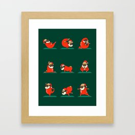 Santa Pug Yoga Framed Art Print