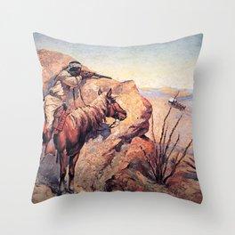 "Frederic Remington Western Art ""Apache Ambush"" Throw Pillow"