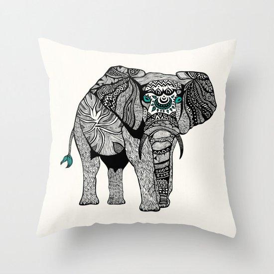 Tribal Elephant Black and White Version Throw Pillow