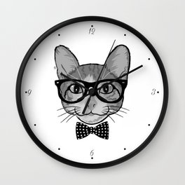 Cat Hipster With Polka Dots Bow Tie - Black White Wall Clock