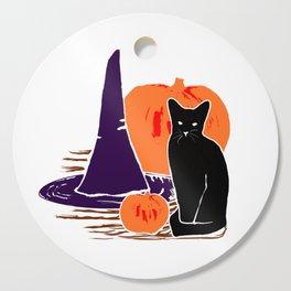 Witch Cat Pumpkin Woodcut Halloween Design Cutting Board