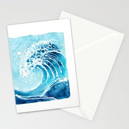 Watercolor Ocean Blue Wave Stationery Cards
