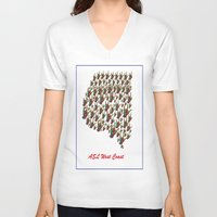 west coast V-neck T-shirts featuring ASL - I LOVE YOU West Coast by EloiseArt