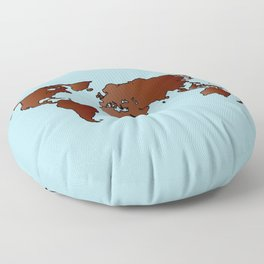 World Map Outline Floor Pillow