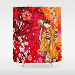 日没 (sunset) Shower Curtain