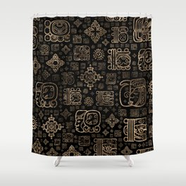 Mayan glyphs and ornaments pattern -gold on black Shower Curtain