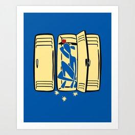 Blue (is shoved in a locker) Art Print